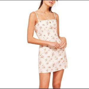 Reformation Ava Ruffle Linen Floral Mini Dress